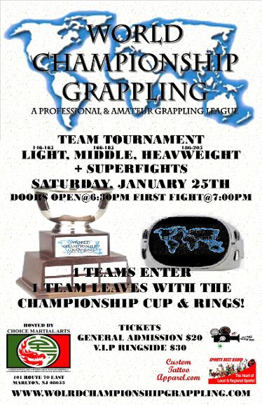 world championship grappling presents a Team Tournament plus superfights