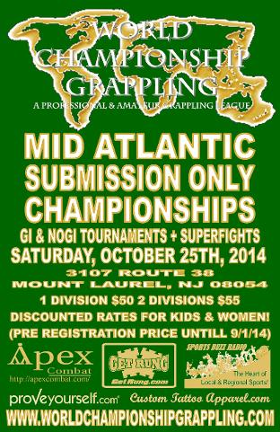 world championship grappling presents the Mid Atlantic Submission Only Championship- Gi and Nogi Tournament plus Superfights