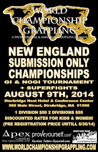 world championship grappling presents the New England Submission Only Championship- Gi and Nogi Tournament plus Superfights
